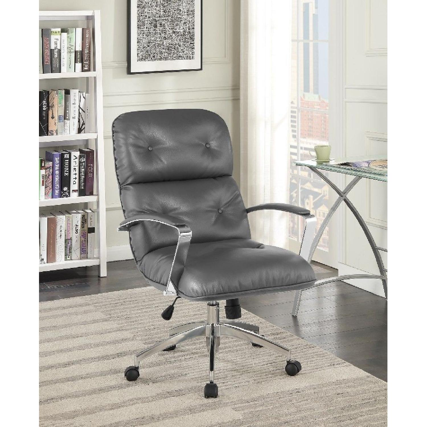 Modern Office Chair in Grey Leatherette w/ Chrome Base - image-2