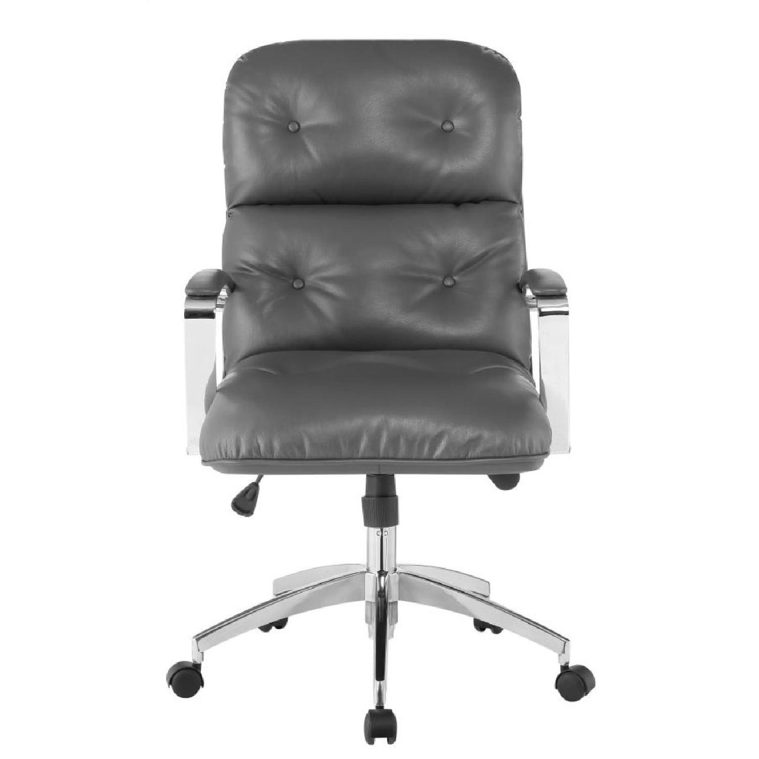 Modern Office Chair in Grey Leatherette w/ Chrome Base - image-3