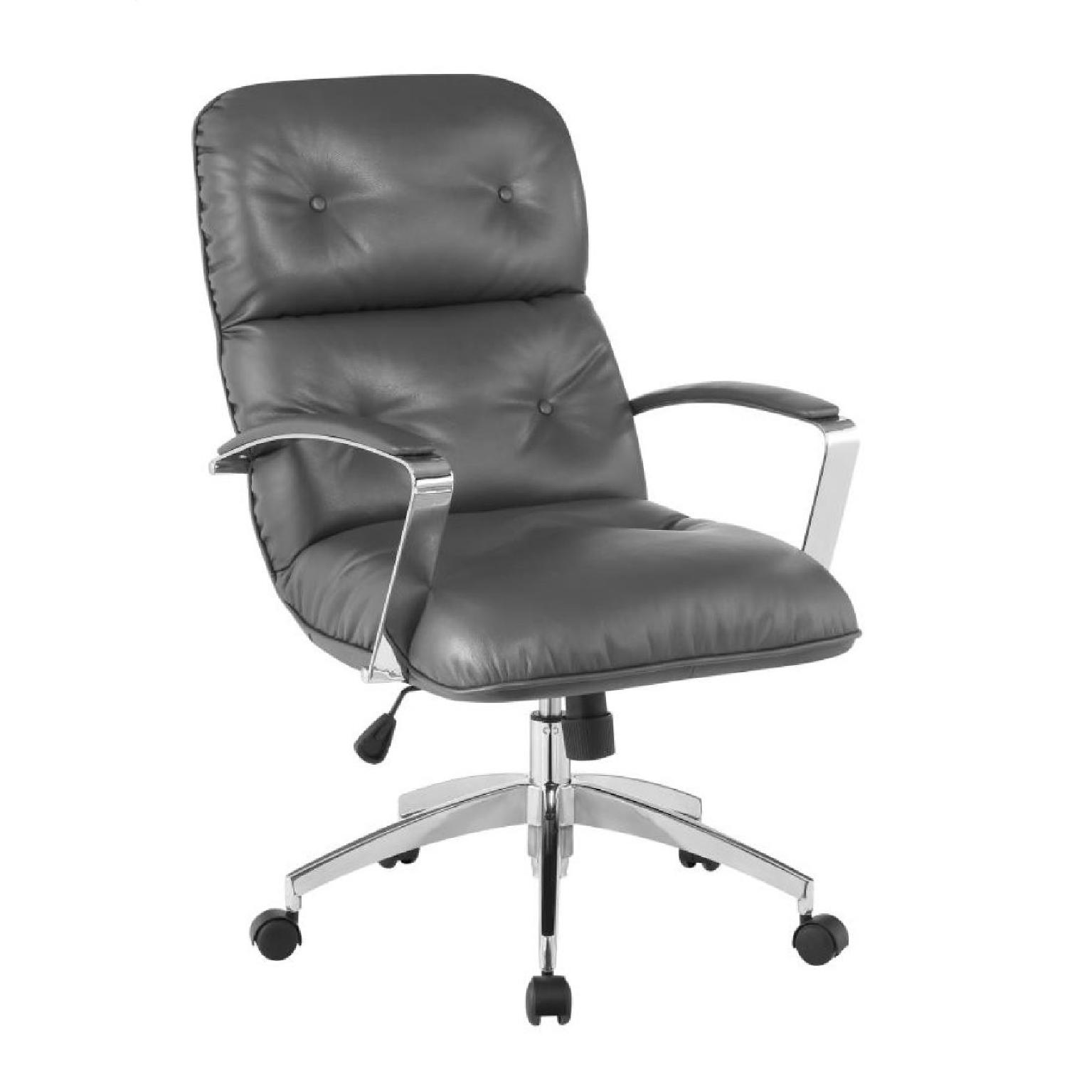 Modern Office Chair in Grey Leatherette w/ Chrome Base - image-0