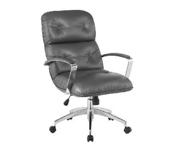Modern Office Chair in Grey Leatherette w/ Chrome Base
