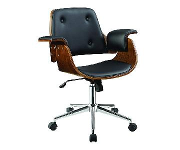 Mid-Century Style Office Chair in Black & Walnut Finish