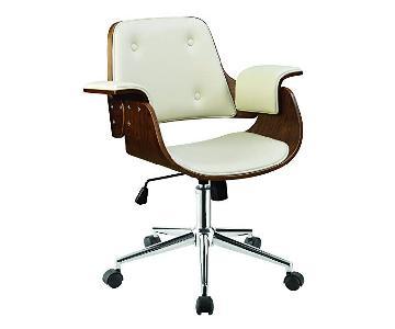 Mid-Century Style Office Chair in Cream & Walnut Finish