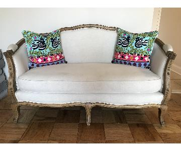 Antique Reupholstered Linen Loveseat