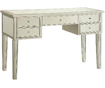 Writing Desk w/ Decorative Mirrors & 5 Drawers