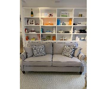 Custom Upholstered Sofa w/ Navy Contrast Piping