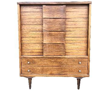 Mid Century Modern High Boy Dresser w/ Bent Wood Drawers