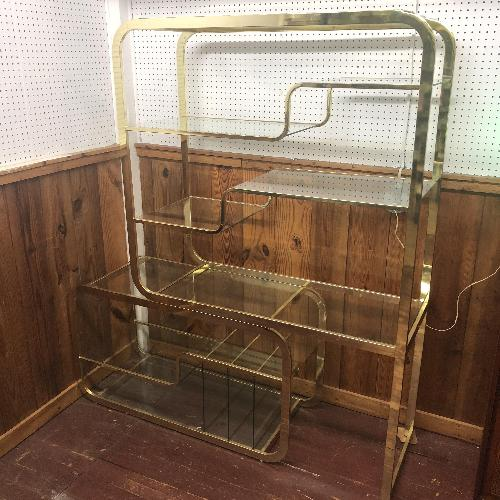 Used Milo Baughman Mid Century Modern Brass & Glass Etagere for sale on AptDeco