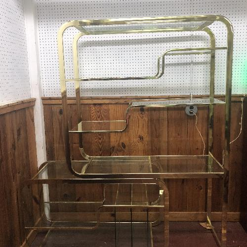 Used Milo Baughman Mid Century Modern Brass & Glass Etagere for sale on AptDeco