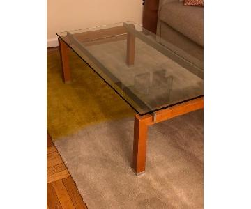 Jensen Lewis Glass & Wood Coffee Table