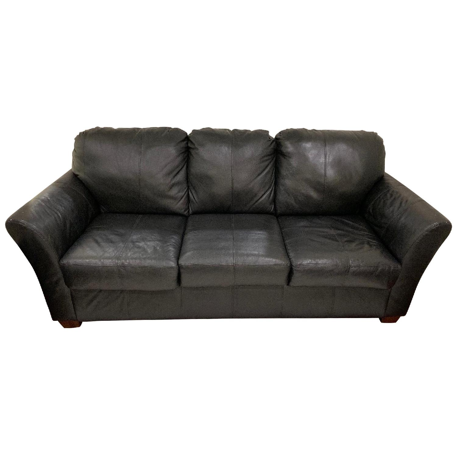 Black Leather 3-Seater Sofa + Chair