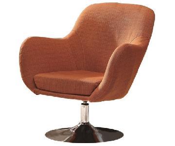 Retro Style Swivel Accent Chair in Orange Linen Fabric w/ Ch