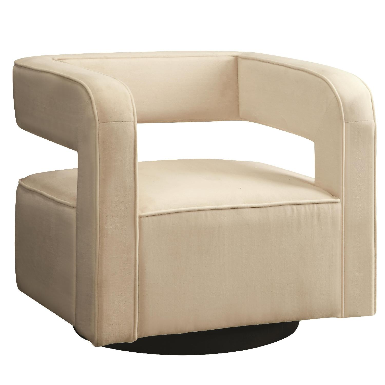 Contemporary Swivel Accent Chair In Off White Velvet Aptdeco