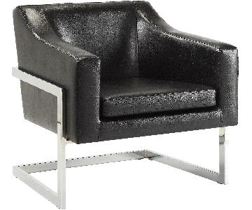 Contemporary Accent Chair in White Leatherette w/ Exposed Metal Frame