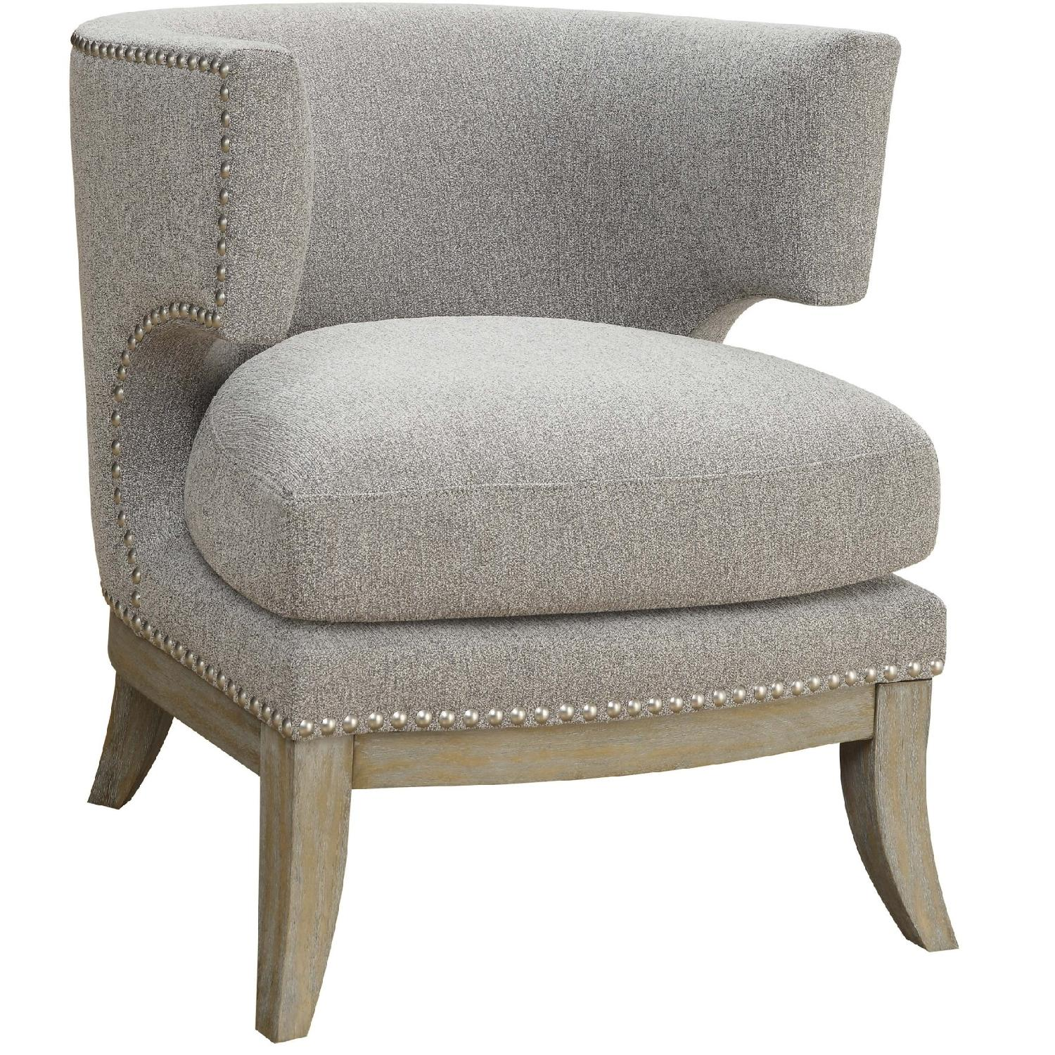Barrel Back Modern Upholstered Accent Chair In Grey   AptDeco