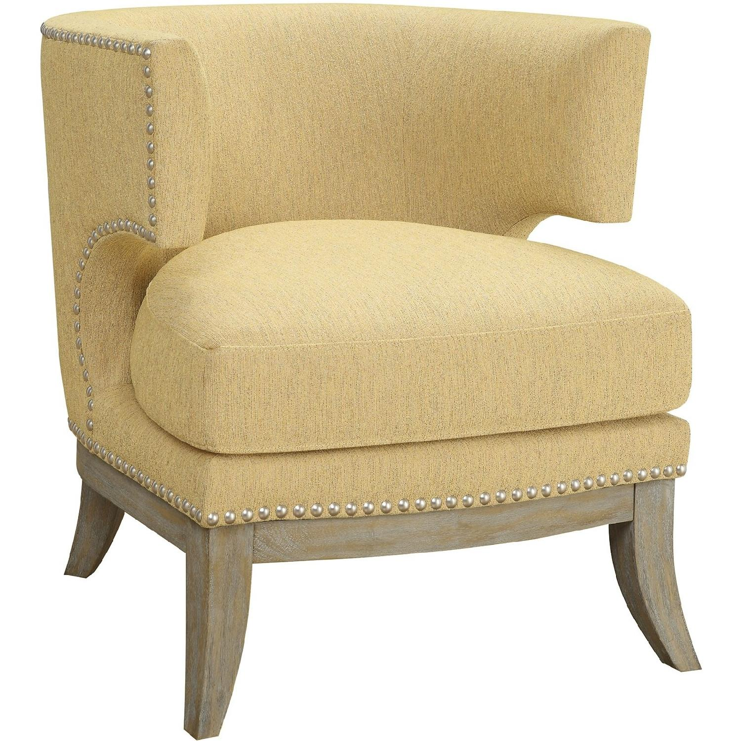 Barrel Back Modern Upholstered Accent Chair In Yellow Aptdeco