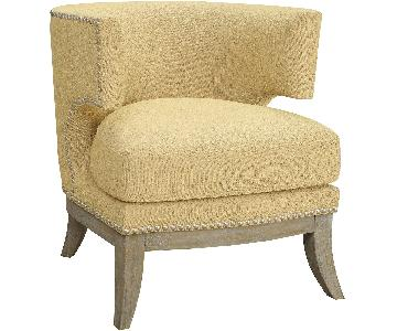 Barrel Back Modern Upholstered Accent Chair in Yellow Chenile Fabric w/ Weathered Grey Wood Legs