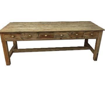 Anthropologie Wooden 6 Drawer Desk