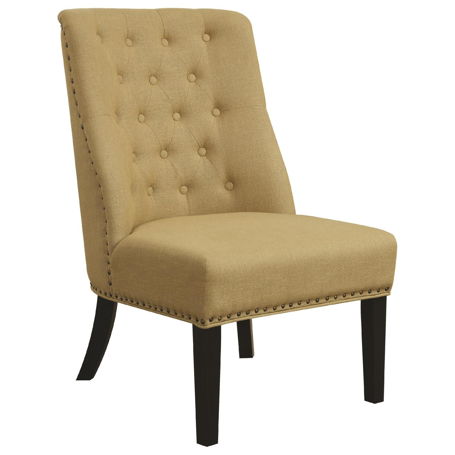 Accent Chair w/ Tufted Back & Nailhead Accent in Grey Fabric