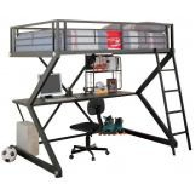 Full Size Workstation Loft Bed in Black Metal Frame w/ Sigma Design - image-0