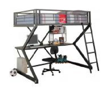 Full Size Workstation Loft Bed in Black Metal Frame w/ Sigma