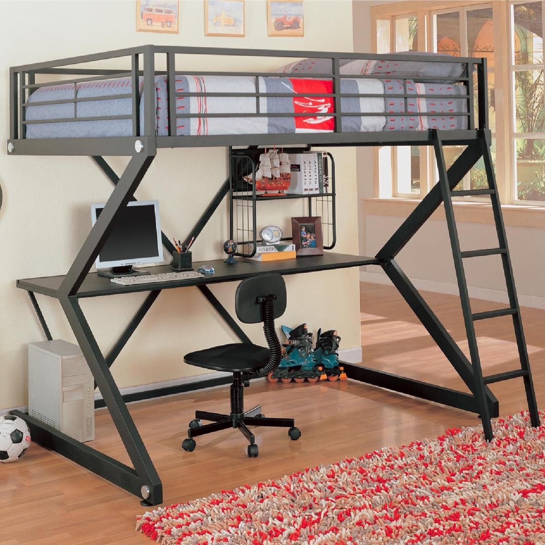 Full Size Workstation Loft Bed in Black Metal Frame w/ Sigma Design - image-1