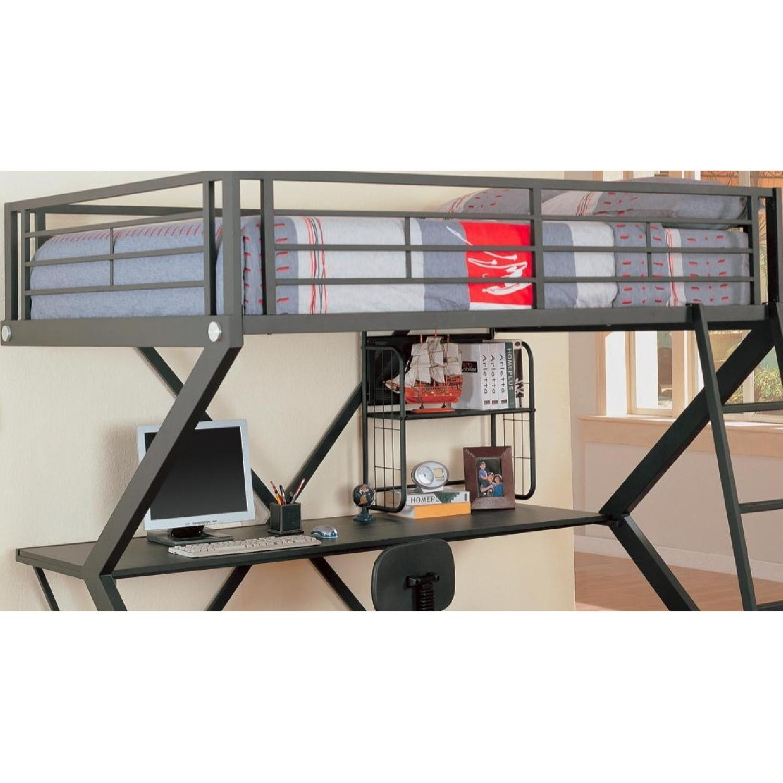 Full Size Workstation Loft Bed in Black Metal Frame w/ Sigma Design - image-2