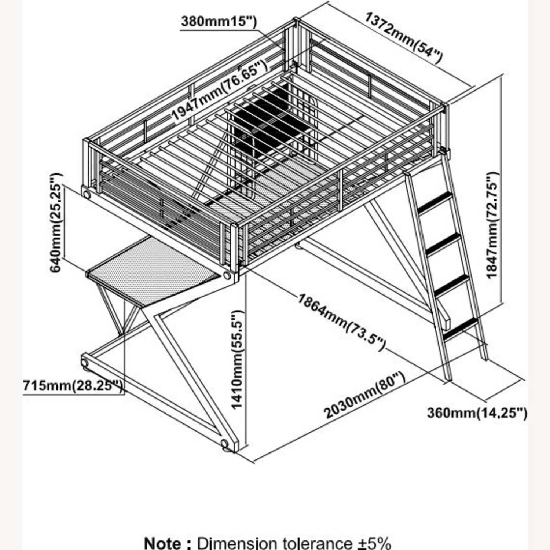 Full Size Workstation Loft Bed in Black Metal Frame w/ Sigma Design - image-3