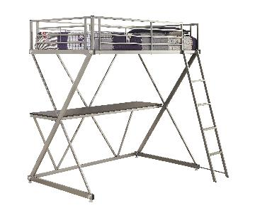 Twin Size Workstation Loft Bed in Silver Metal Frame w/ X-Motif