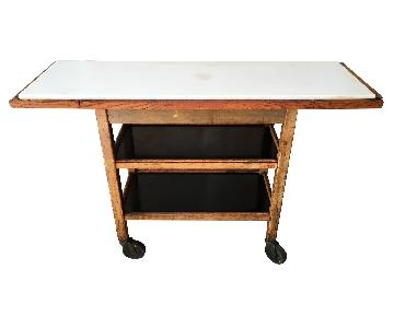Vintage Industrial Marble Top Console Table Bar/Media Storag