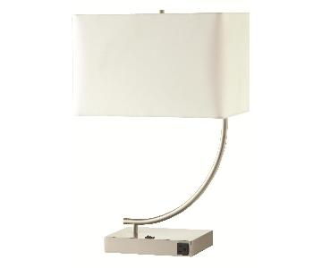 Modern Table Lamps w/ White Lamp Shades & Chrome Base w/ Built-In Electrical Outlet
