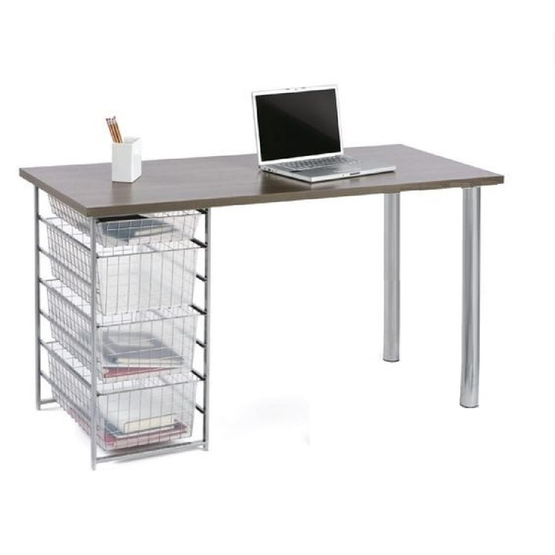 Container Store Elfa Mesh Driftwood Melamine Top Desk