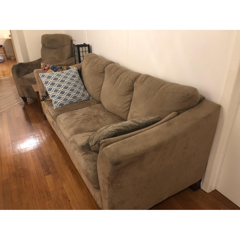 Raymour U0026 Flanigan Beige Microsuede 3 Seater Sleeper Sofa