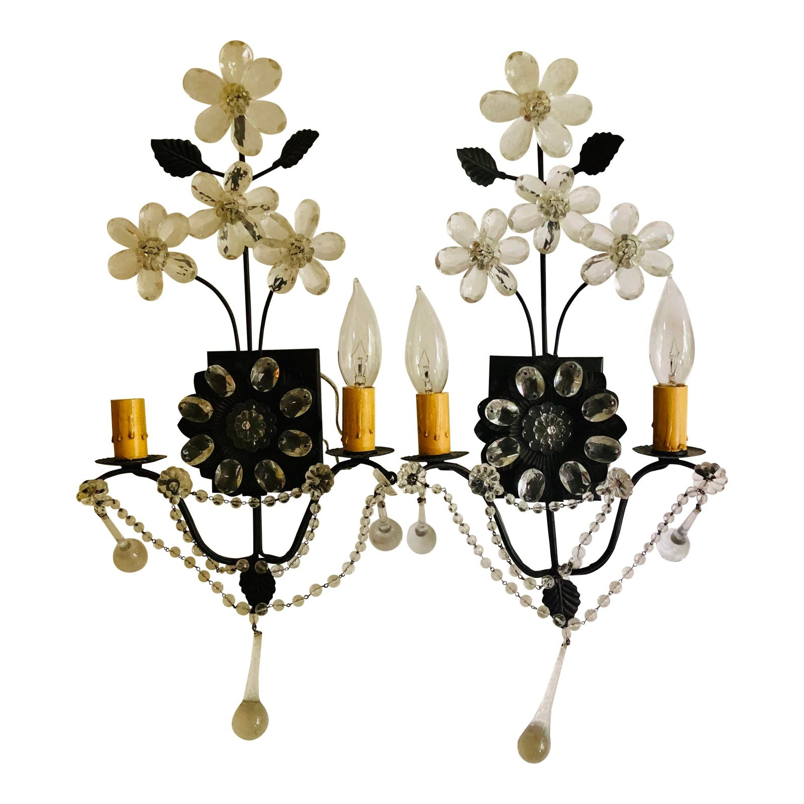 Masion Bagues Style Crystal & Bronze Floral Sconces