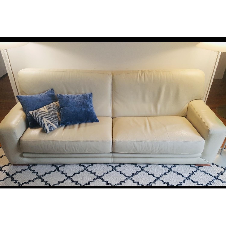 Roche Bobois Cream Leather Sofa