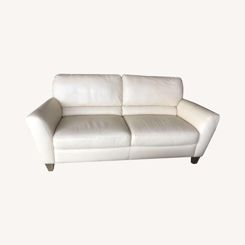 Natuzzi Cream Leather Sofa