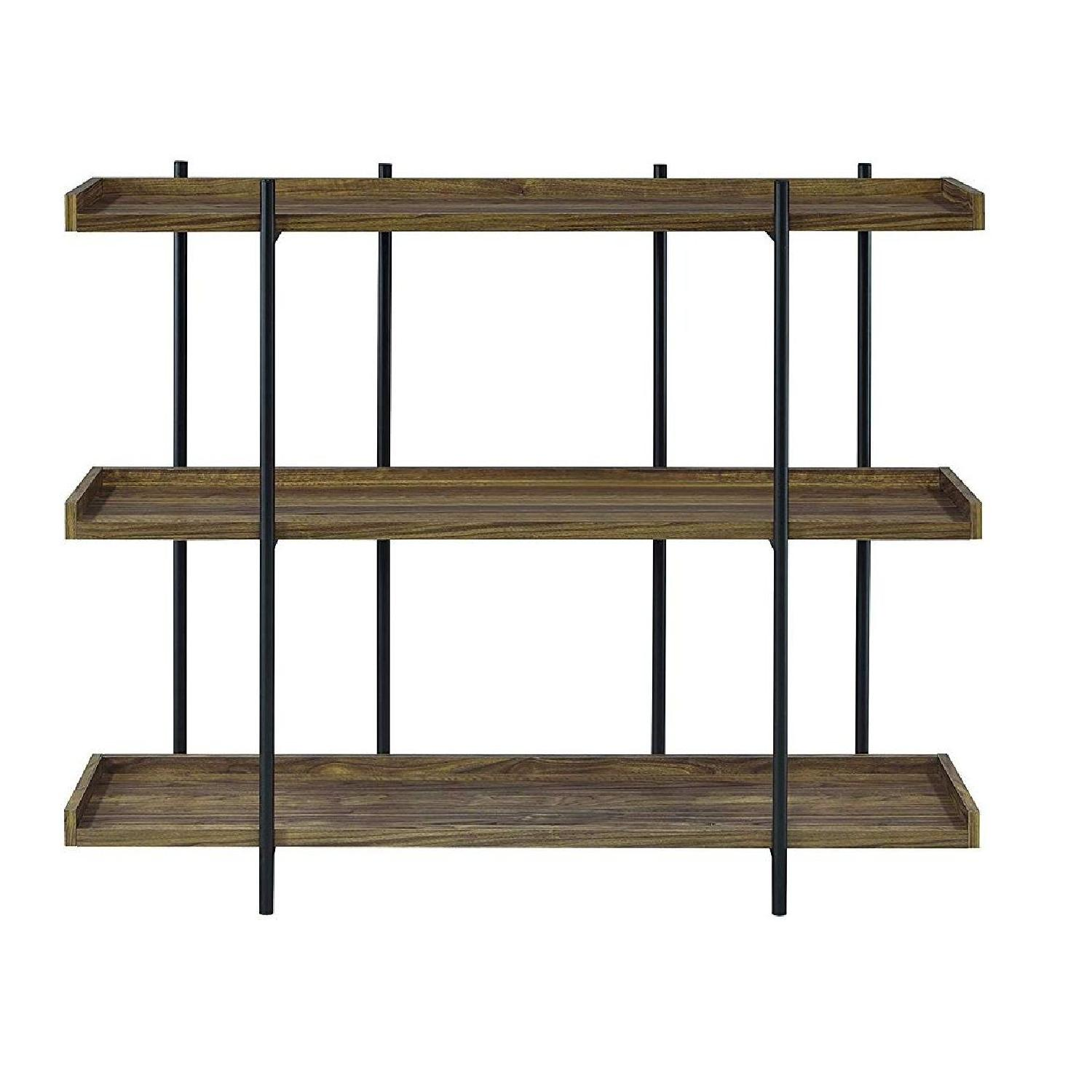 Industrial Style 3-Shelves Bookcase in Aged Walnut Finish - image-1