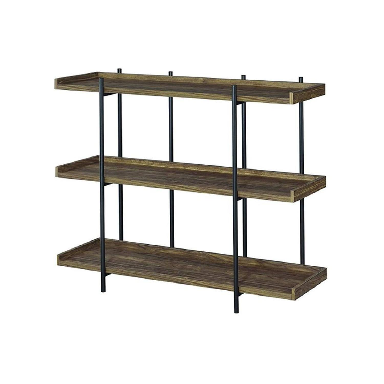 Industrial Style 3-Shelves Bookcase in Aged Walnut Finish - image-2