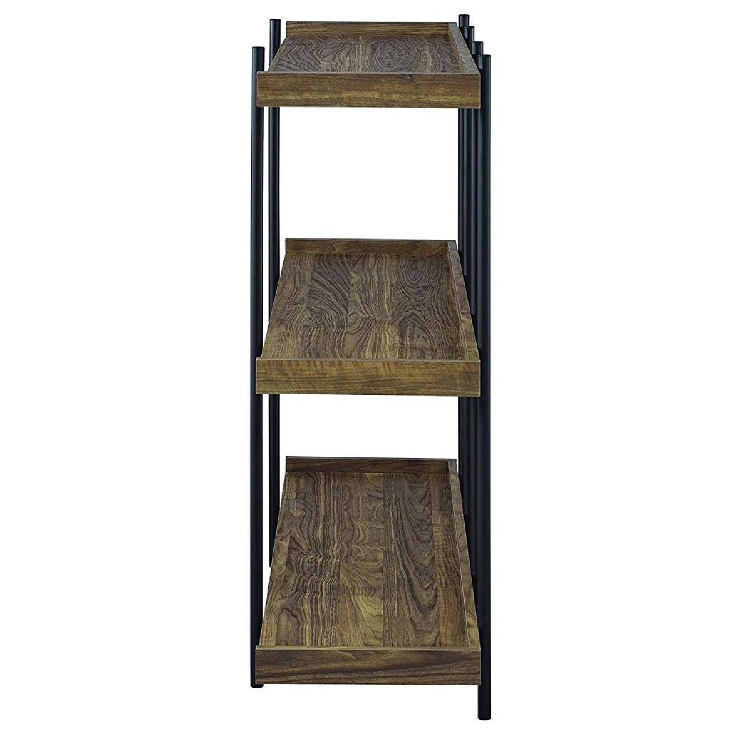 Industrial Style 3-Shelves Bookcase in Aged Walnut Finish - image-3