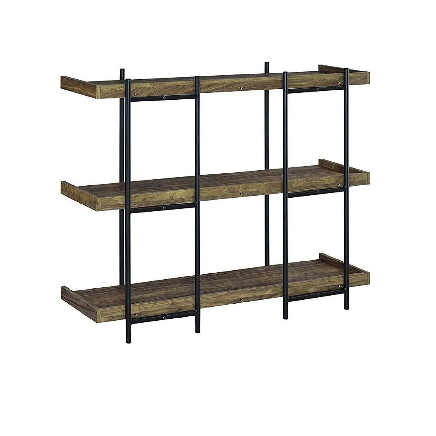 Industrial Style 3-Shelves Bookcase in Aged Walnut Finish - image-5