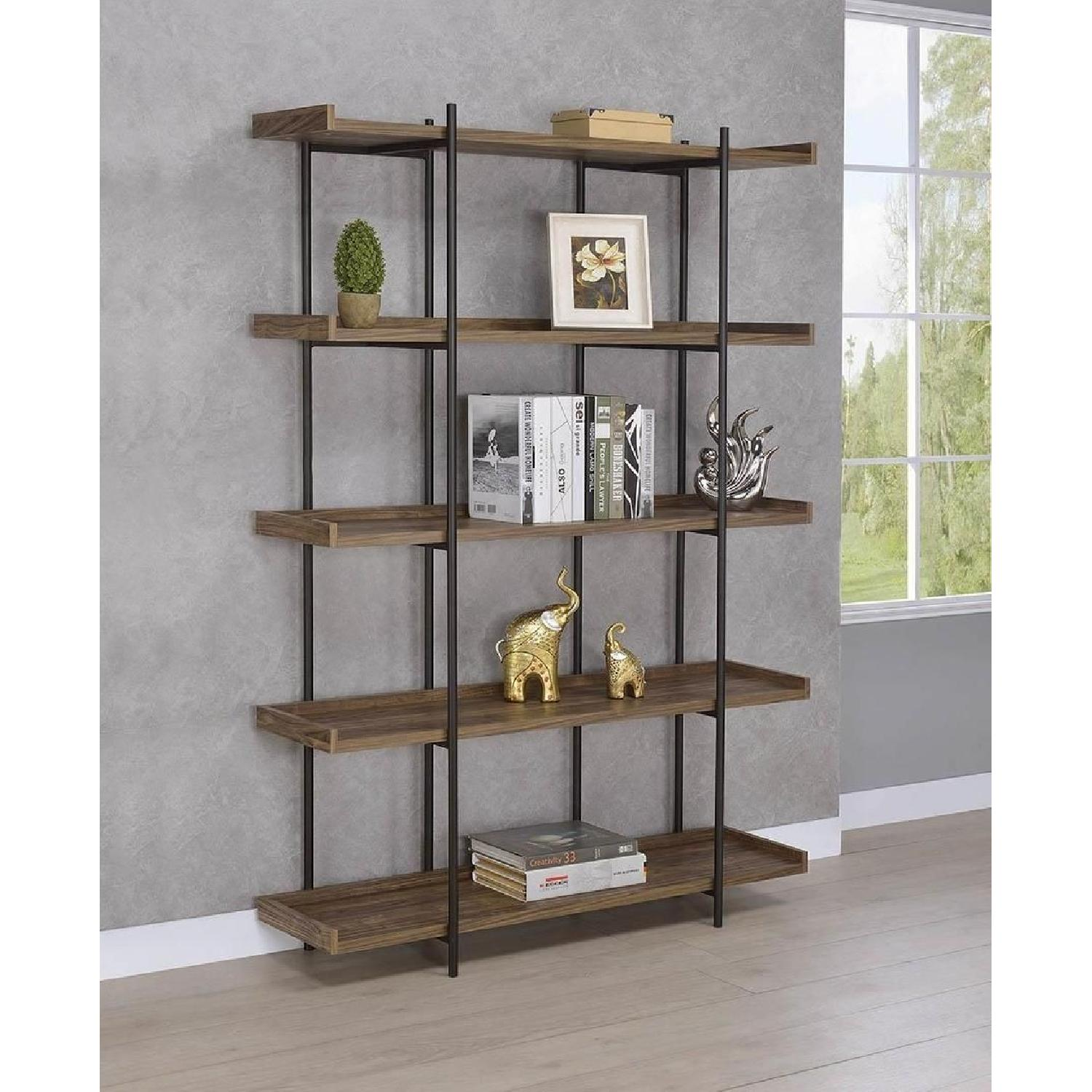 Industrial Style 5-Shelves Bookcase in Aged Walnut Finish - image-2