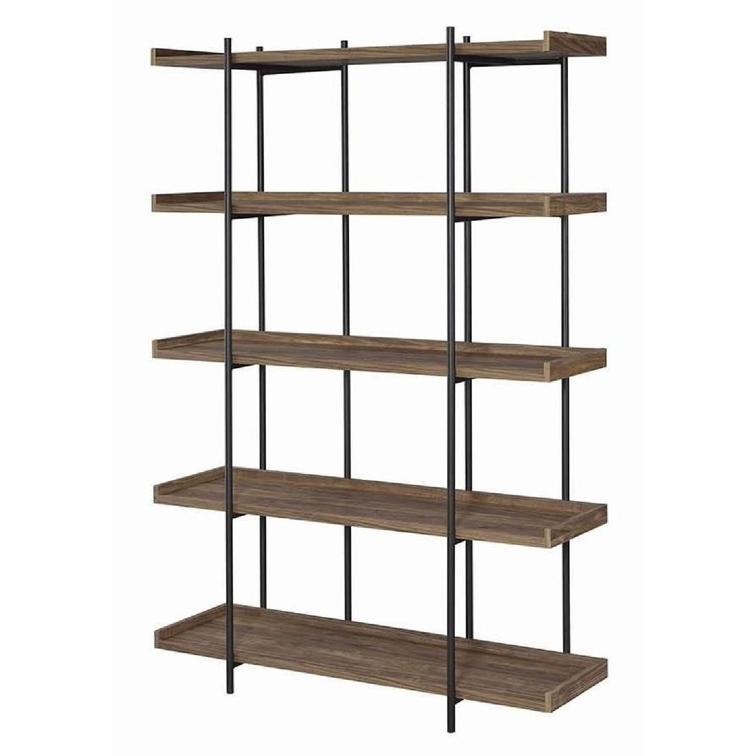 Industrial Style 5-Shelves Bookcase in Aged Walnut Finish - image-3
