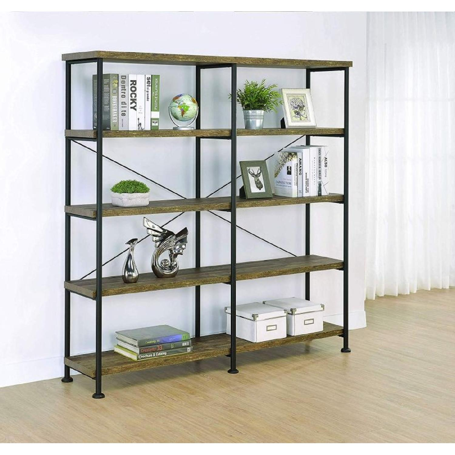 Rustic Oak & Black Bookcase w/ 4 Shelves - image-1