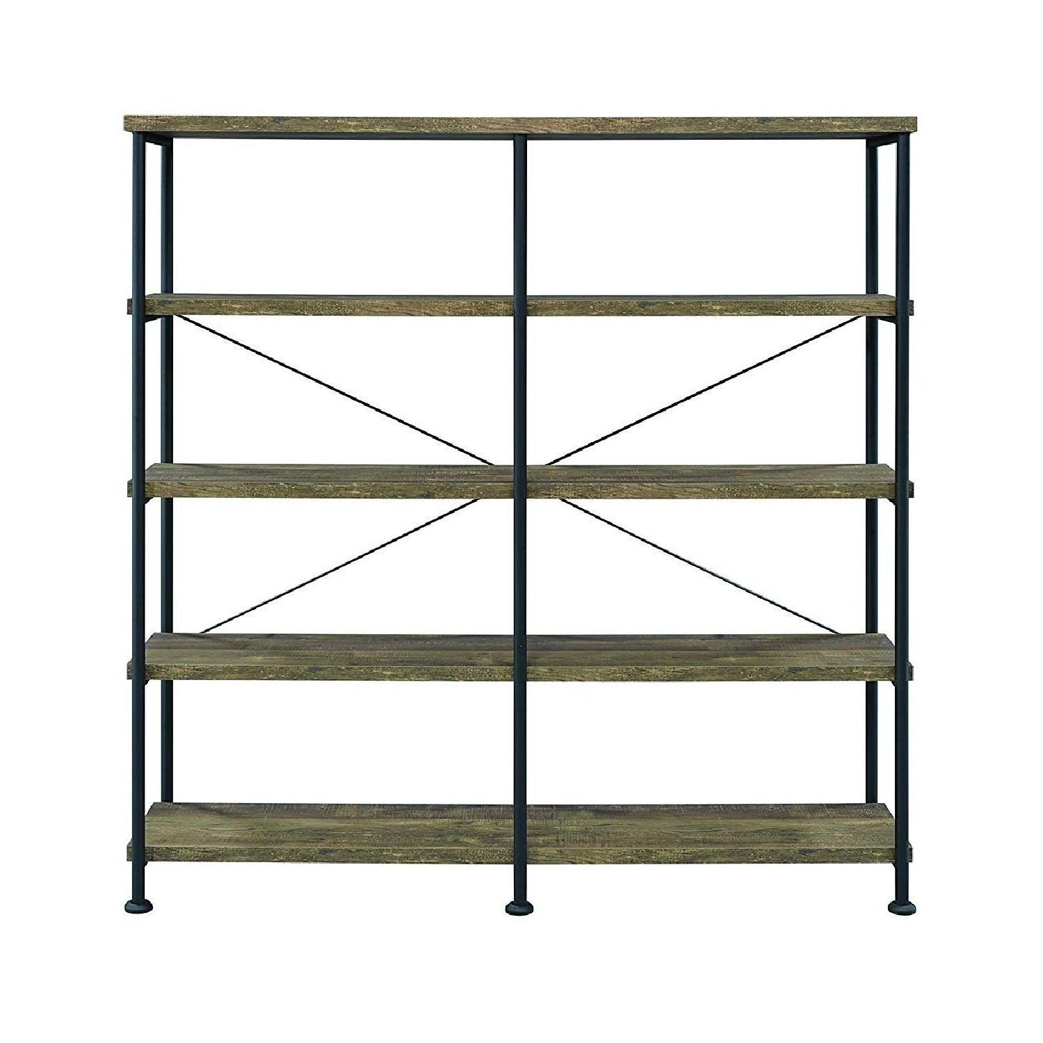 Rustic Oak & Black Bookcase w/ 4 Shelves - image-3
