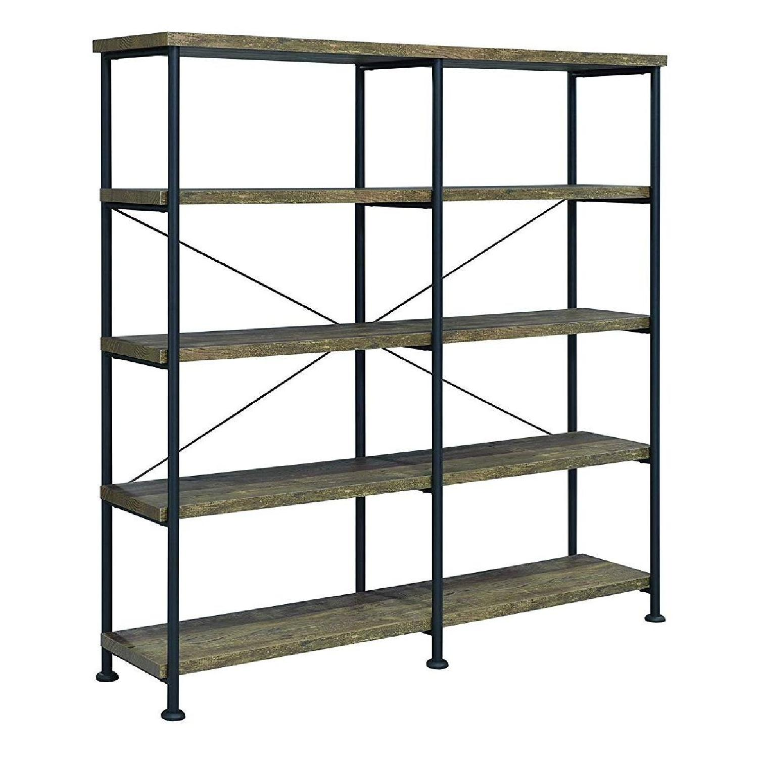 Rustic Oak & Black Bookcase w/ 4 Shelves - image-0