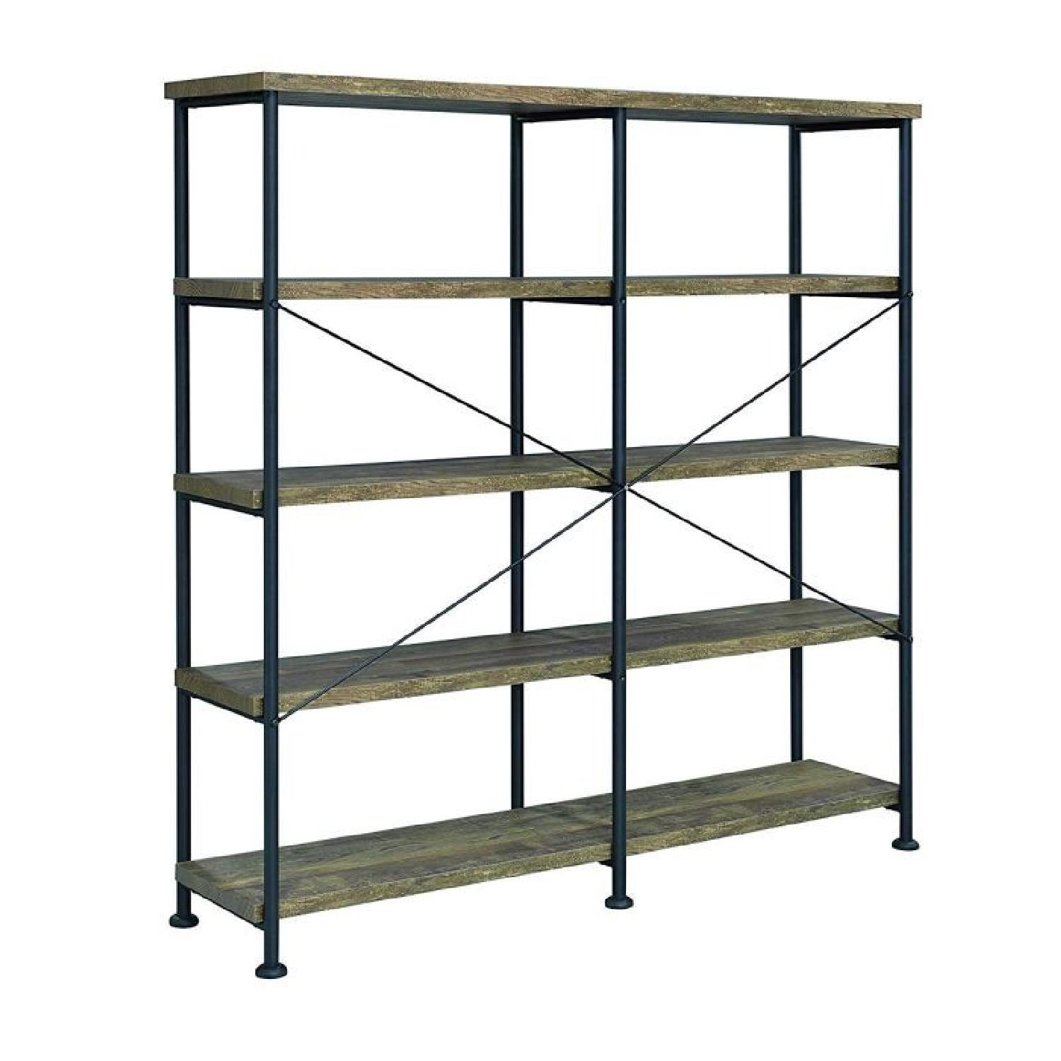 Rustic Oak & Black Bookcase w/ 4 Shelves - image-4