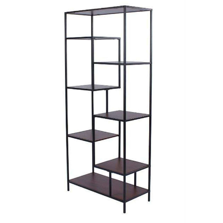 Rustic Industrial Bookcase in Walnut & Black - image-0