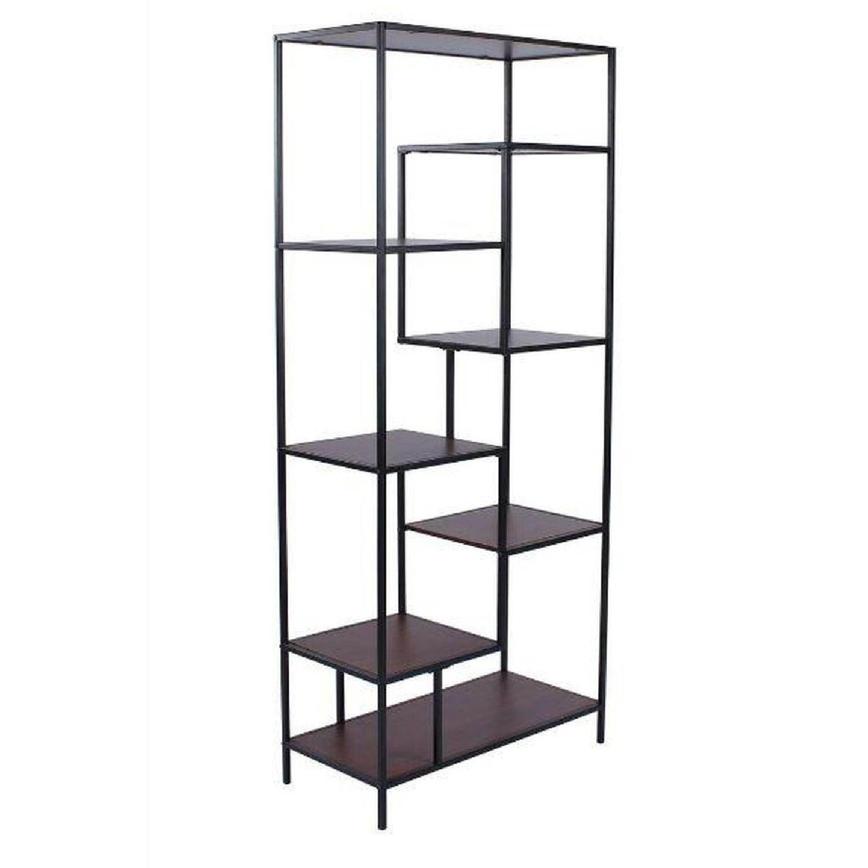 Rustic Industrial Bookcase in Walnut & Black - image-2