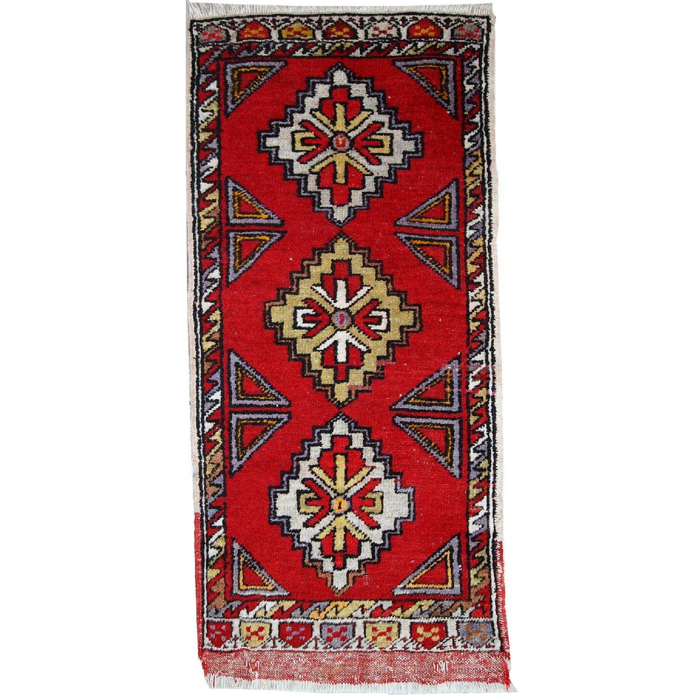 Turkish Yastik Rug: Vintage Handmade Turkish Yastik Rug