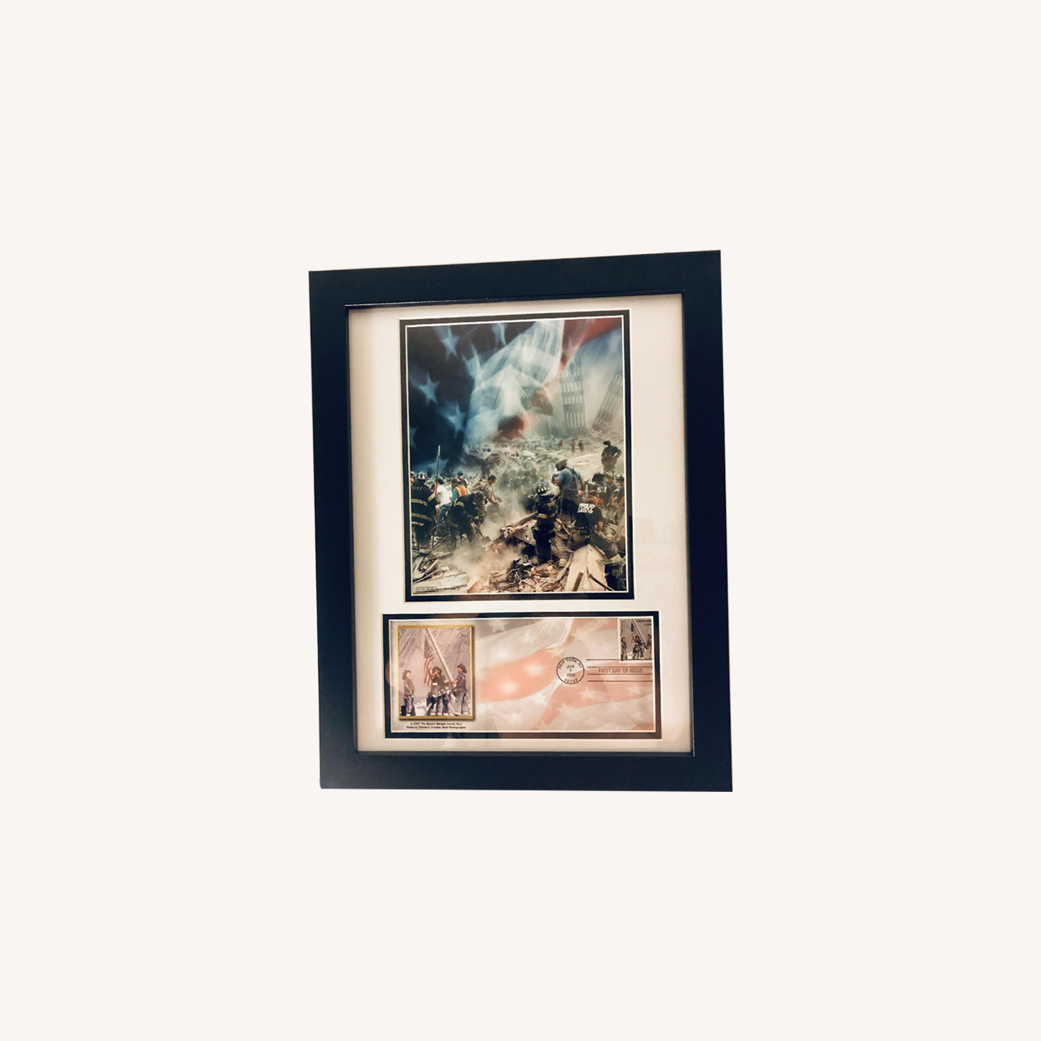 Framed Historic Photos of 9/11 w/ 1st Day Heroes Stamp