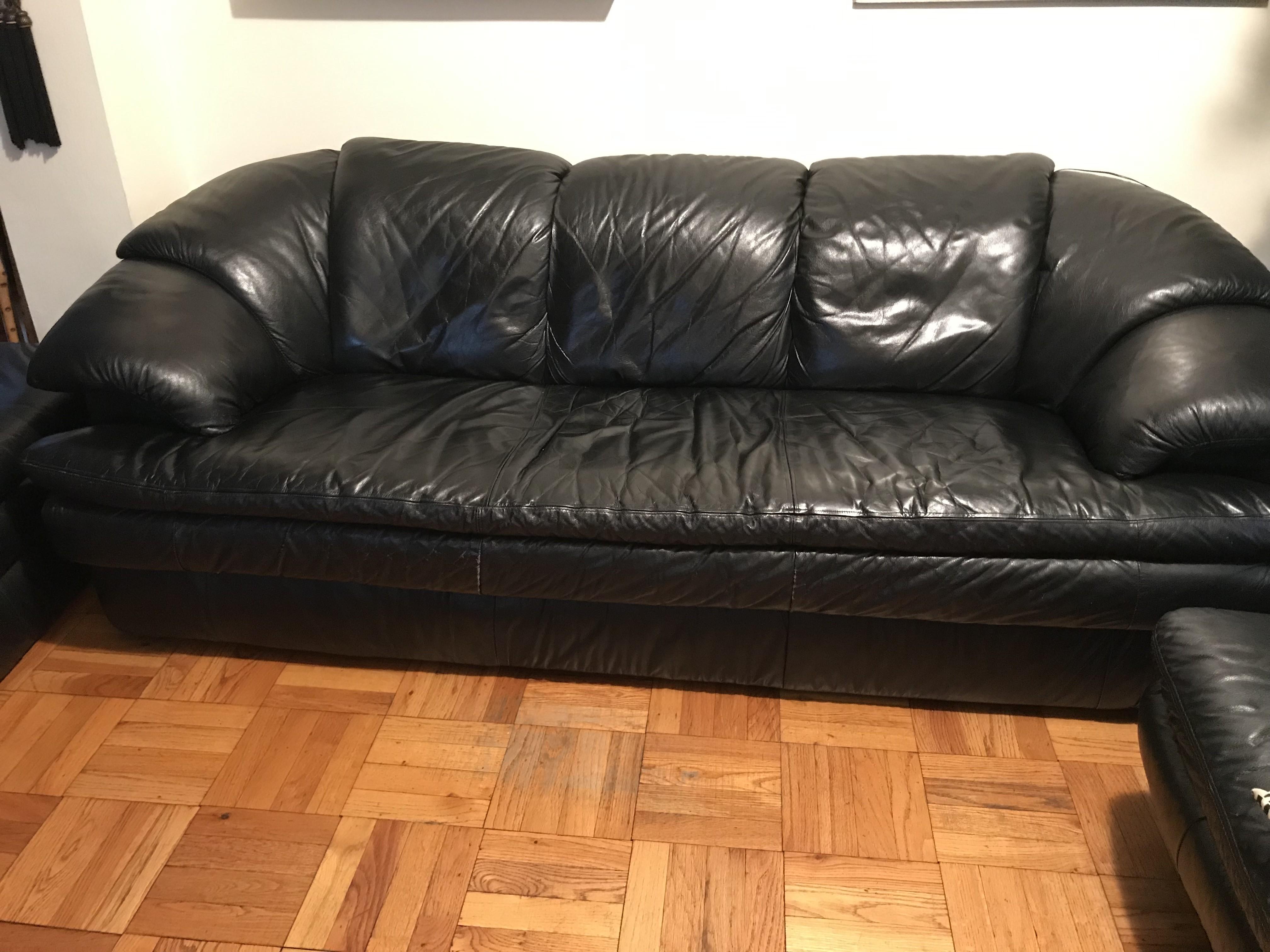 Roche Bobois Black Leather Sofa
